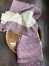 Pure Khadi Cotton Handloom - Off-White Violet Woven