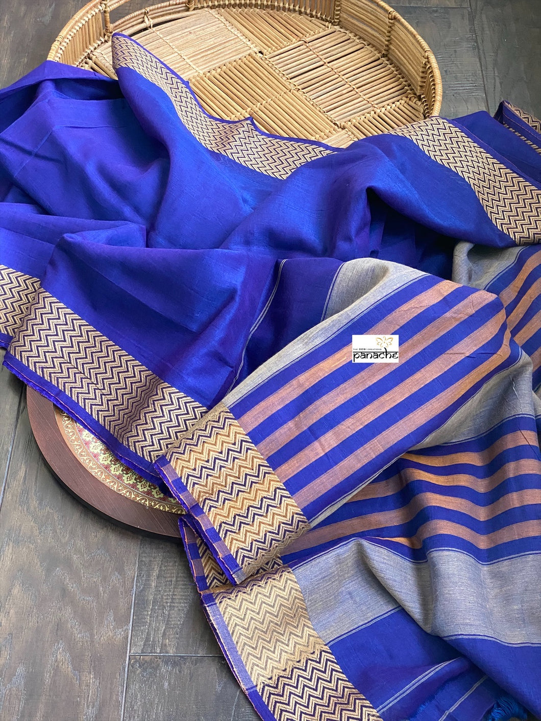 Narayan Peth Cotton Saree - Purplish Blue