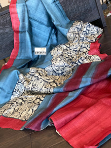 Printed Tussar Silk - Metallic Blue Grey
