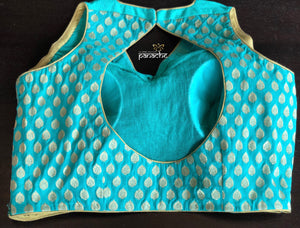 Designer Blouse - Light Sea Green collar