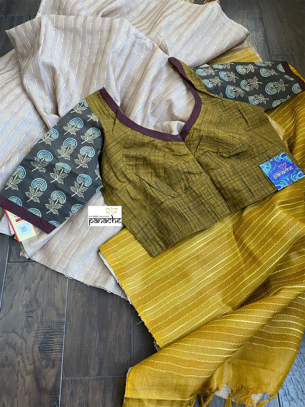 Designer Blouse - Ochre Yellow Brown