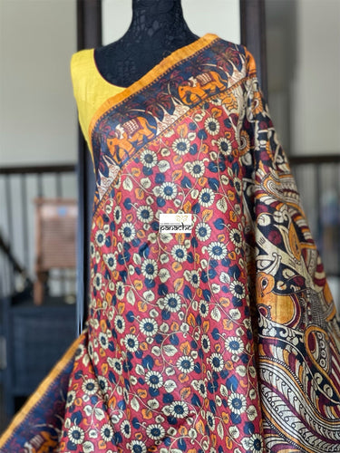 Tussar Gicha Silk - Rusty Red Kalamkari Printed