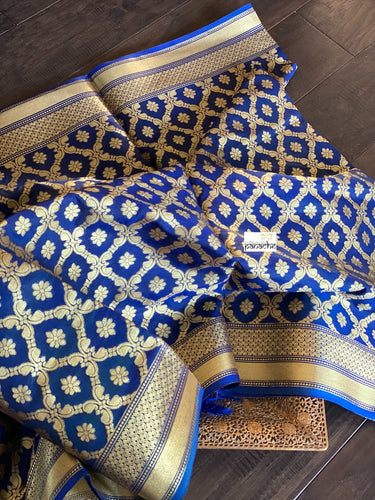 Silk Cotton Dupatta - Blue Golden Zari
