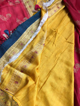 Tussar Georgette Banarasi- Red Yellow Meenakari
