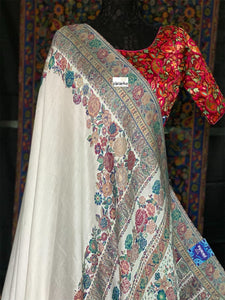 Pure Pashmina Silk Kani - White Antique Zari