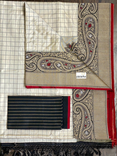 Pure Katan Silk Banarasi - Offwhite Black Checkered Kadwa Woven