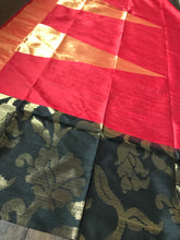 Tussar Dupion Silk Banarasi - Black Red