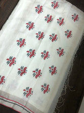 Linen Handloom Exclusive - Silver Zari White woven