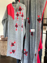 Khadi Cotton Saree Kurta Pair - Grey Red