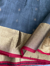 Pure Chanderi Silk - Grey Red Golden Zari