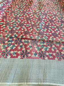 Pure Tussar Silk - Embroidered Printed Half Half