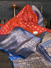 Pure Tassur Silk Banarasi - Rusty Orange Blue