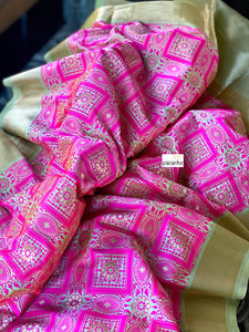 Soft Silk Tanchoi Banarasi - Hot Magenta