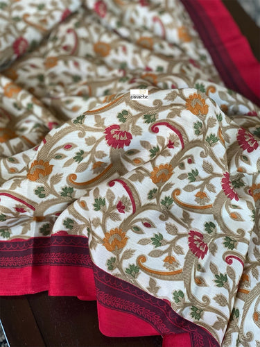 Pashmina Silk - Offwhite Red Floral design
