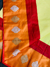Silk Cotton Banarasi - Yellow Red
