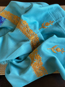 Kashmiri Stole - Light Blue Zari Ariwork