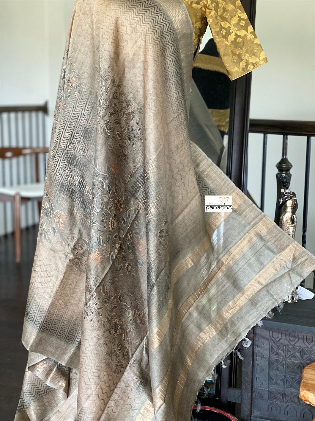 Pure Tussar Silk - Grey Printed Golden Zari