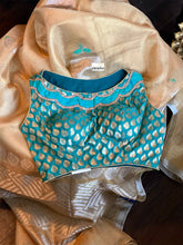 Pure Tissue Silk - Golden Body Sea green Meenakari