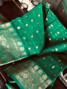 Pure Chanderi Katan Silk - Green Golden Zari Woven