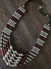 Jewelry- Silver Black Red Beaded Set