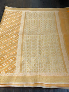 Cotton Silk Jamdaani Kora Banarasi - Yellow Woven