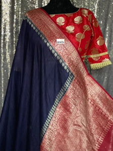 Tussar Georgette Banarasi - Navy Blue Red Kadwa