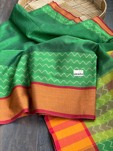Narayan Peth Cotton Saree - Green Orange