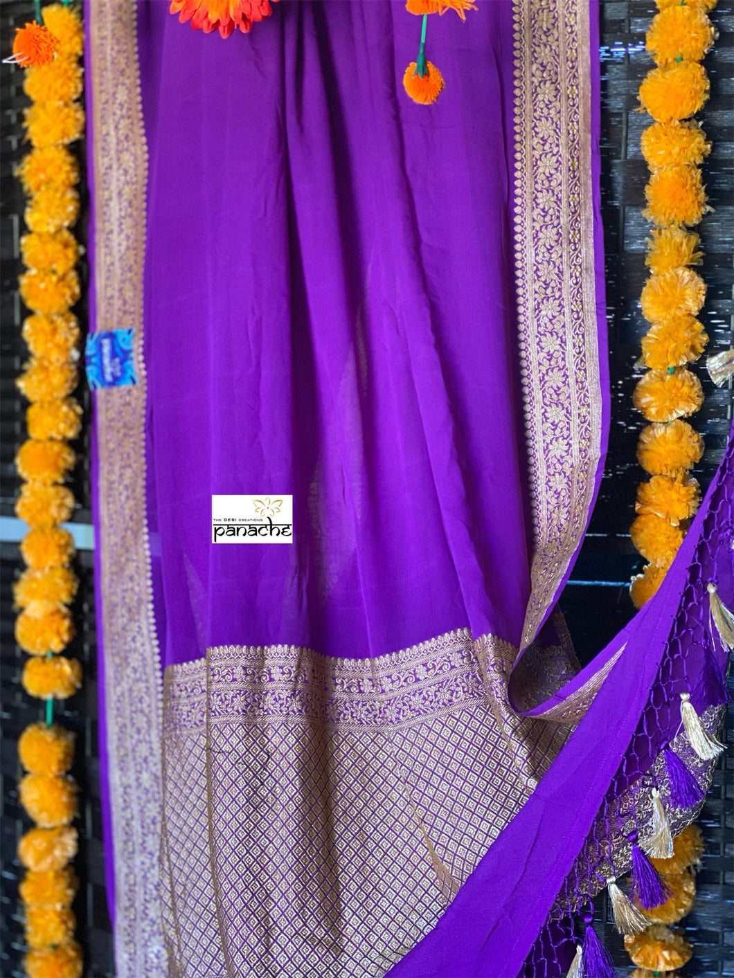 Chiffon Georgette Silk Banarasi - Purple Golden Zari