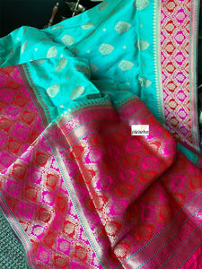 Soft Silk Banarasi - Sea Green Magenta Antique Golden Zari