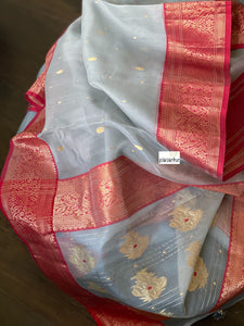 Pure Chanderi Katan Silk - Silver Grey Red