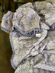 Designer Pure Georgette Chikankari - Light Lavender Raffles Border