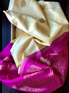 Silk Kanjivaram - Butter Yellow Magenta