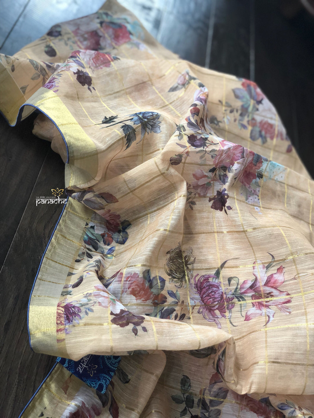 Chanderi Digital Print - Butter Yellow Floral Zari checks