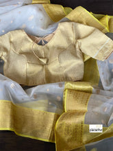 Pure Chanderi Organza Silk - Off White Yellow Iknaliya