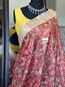 Tussar Silk - Red Green Kalamkari Printed