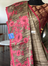 Pure Tussar Silk - Brown Pink Printed