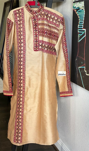 Kurta Men - Golden Tan Maroon Size L 40