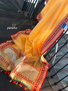 Silk Cotton Banarasi - Golden Yellow Checks