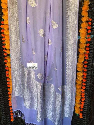 Chiffon Georgette Silk Banarasi - Light Violet