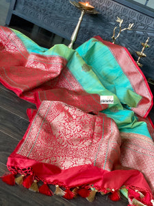 Pure Tassur Silk Banarasi - Sea Green Red