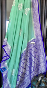 Chiffon Georgette Silk Banarasi - Mint Green Purplish blue