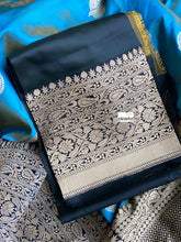 Katan Silk Banarasi - Metallic Blue Dual Shaded