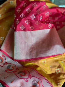 Pure Silk Katan Paithani Banarasi - Golden Yellow Kadhwa
