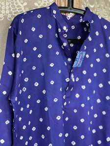 Bandhej Kurta Men - Blue Purple XL-42 (46 inches)