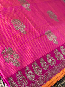 Tassur Silk Banarasi - Peach Orange Magenta
