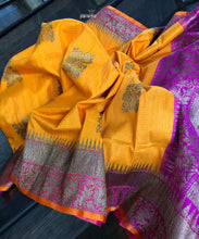 Tussar Silk Banarsi - Golden Yellow