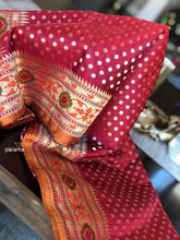 Silk Banarasi - Red Rusty Orange Paithani border