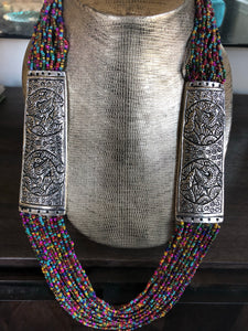 Jewelry Long Necklace- Pink Blue Beaded German Silver