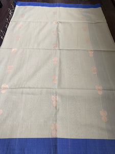 Pure Khadi Cotton Handloom - Pista Green Blue Woven