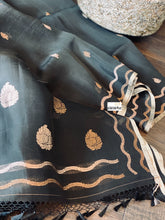 Organza Silk Banarsi - Black Golden Zari